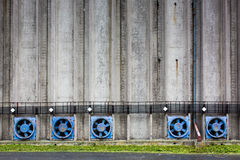 Conrete wall of a cereal silo tower Stock Photography
