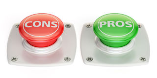 Cons and pros push button, 3D rendering Stock Image