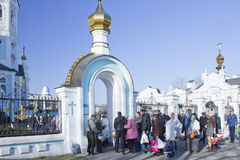 Consagração de bolos e de ovos da Páscoa na Páscoa ortodoxo Fotografia de Stock