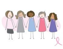 Consapevolezza del cancro della mammella - donne che tengono le mani Fotografie Stock Libere da Diritti
