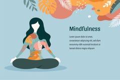 Consapevolezza, meditazione e fondo nei colori d'annata pastelli - donne di yoga che si siedono con le gambe e meditare attravers illustrazione vettoriale