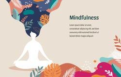 Consapevolezza, meditazione e fondo nei colori d'annata pastelli - donne di yoga che si siedono con le gambe e meditare attravers illustrazione di stock