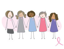 Consciência do cancro da mama - mulheres que prendem as mãos Fotos de Stock Royalty Free