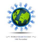 Conscience de jour de diabète du monde avec la main entourant la terre Images stock