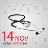 Conscience de jour de diabète du monde avec le stéthoscope Images libres de droits