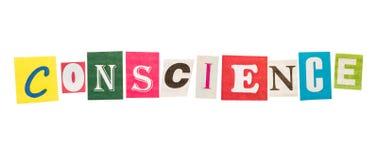 Conscience inscription letters Stock Images