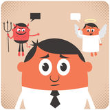 Conscience. Man trying to make decision. Little angel and devil are giving him advice. No transparency used. Basic (linear) gradients stock illustration