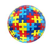 Conscience sphérique d'autisme de puzzle d'isolement illustration de vecteur