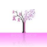 Conscientização cor-de-rosa do câncer da mama da árvore de fita ilustração stock
