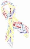 Conscientização do autismo da nuvem da palavra relativa Imagens de Stock