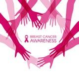 A conscientização do câncer da mama com coração juntou-se às mãos das mulheres e à ilustração cor-de-rosa do vetor da fita ilustração stock