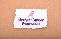 Conscientização do câncer da mama escrita no papel Imagem de Stock