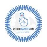 A conscientização do dia do diabetes do mundo com círculo humano azul do ícone e o sangue deixam cair disponível para o nível do  Imagens de Stock Royalty Free