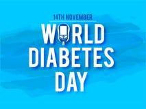 A conscientização do dia do diabetes do mundo com mãos guarda as medidas do medidor para o nível do açúcar no sangue ilustração do vetor