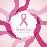 CONSCIENTIZAÇÃO do câncer da mama com a fita cor-de-rosa no projeto do vetor das mãos do círculo Imagem de Stock Royalty Free