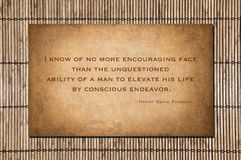 Conscious Endeavor - Henry David Thoreau. Henry David Thoreau's (1817 - 1862 quote about hard work: I know of no more encouraging fact than the unquestioned stock photo