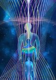 Consciousness evolution - abstract illustration. Human with universe on space star and energy fields background royalty free illustration