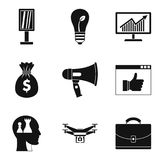 Consciousness icons set, outline style. Consciousness icons set. Outline set of 9 consciousness vector icons for web isolated on white background Stock Image