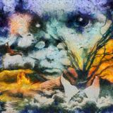 Consciousness. Surreal oil painting. Eagle flies over the field, clouds reflected in the water. Empty suit with branches of tree and ghost`s face in the clouds Stock Image