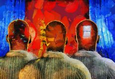 Consciousness. Surreal painting. Men with dreams in their head stands before drapes. Field behind drapes. This image created in entirety by me from my own images Royalty Free Stock Photography