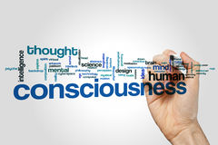 Consciousness word cloud concept on grey background.  stock photo