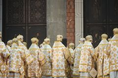Consecration ceremony of Romania's National Cathedral. Bucharest, Romania - November 25, 2018 - High priests during the consecration ceremony of Romania stock photography