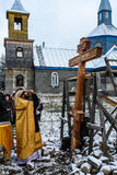 The consecration of the memorial Orthodox cross near the temple in the Kaluga region of Russia. Stock Photos