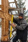 The consecration of the memorial Orthodox cross near the temple in the Kaluga region of Russia. Stock Images