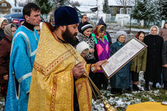 The consecration of the memorial Orthodox cross near the temple in the Kaluga region of Russia. Stock Photography