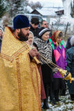 The consecration of the memorial Orthodox cross near the temple in the Kaluga region of Russia. Royalty Free Stock Photography