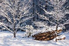 Consecuencias de la nevada en Georgia Mountains del norte Imagen de archivo libre de regalías