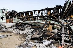 Consecuencias de un fuego en la casa foto de archivo libre de regalías
