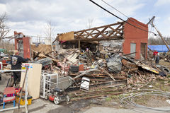 Consecuencias en Henryville, Indiana del tornado Fotografía de archivo