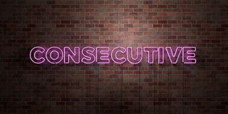 CONSECUTIVE - fluorescent Neon tube Sign on brickwork - Front view - 3D rendered royalty free stock picture Royalty Free Stock Photography