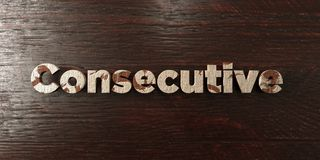 Consecutive - grungy wooden headline on Maple  - 3D rendered royalty free stock image Royalty Free Stock Photos