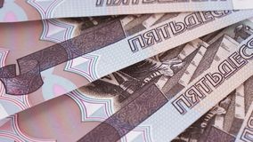Consecutive numbers on rubles stock footage