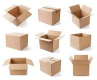Consegna commovente del trasporto del pacchetto della scatola di cartone Fotografia Stock