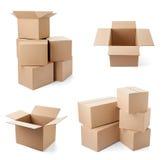 Consegna commovente del trasporto del pacchetto della scatola di cartone Fotografie Stock Libere da Diritti