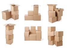 Consegna commovente del trasporto del pacchetto della scatola di cartone Immagine Stock