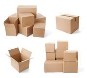 Consegna commovente del trasporto del pacchetto della scatola di cartone Immagini Stock