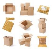 Consegna commovente del trasporto del pacchetto della scatola di cartone Fotografia Stock Libera da Diritti
