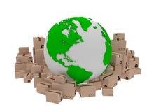 Consegna del mondo, illustrazione dell'icona del globo e arround della scatola 3d rendono Immagini Stock
