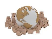 Consegna del mondo, illustrazione dell'icona del globo e arround della scatola 3d rendono Fotografia Stock Libera da Diritti
