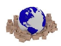 Consegna del mondo, illustrazione dell'icona del globo e arround della scatola 3d rendono Immagini Stock Libere da Diritti
