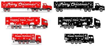 Consegna del nuovo anno e di Natale Insieme dell'illustrazione dettagliata differente dei camion di consegna e delle siluette ner Fotografia Stock Libera da Diritti