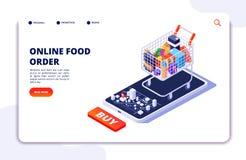 Consegna dell'alimento della drogheria Ordine online con il app mobile Concetto isometrico del ristorante dell'alimento di Intern illustrazione di stock