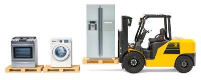 Consegna della famiglia e degli elettrodomestici da cucina Spirito del carrello elevatore a forcale royalty illustrazione gratis