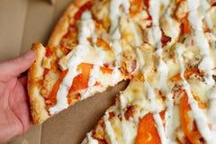 Consegna della pizza Menu della pizza Fotografie Stock Libere da Diritti
