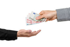 Consegna delle banconote euro Fotografia Stock