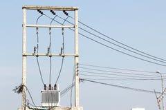 Consegna di elettricità alle città importanti Fotografia Stock Libera da Diritti